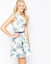Closet - Multicolor Closet Belted Skater Dress In Bird And Flower Print - Lyst