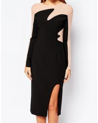 The 8th Sign - Black The 8th Mesh Insert Contrast Midi Dress With Deep Thigh Split - Lyst