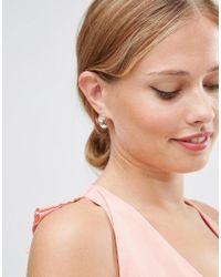 ASOS - Jewel Stud Earrings - Pink - Lyst