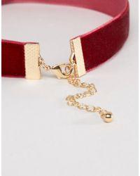 ASOS - Pink Velvet Corsage Choker Necklace - Lyst