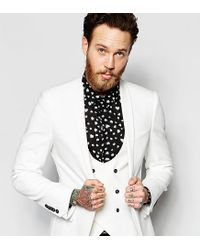 Noose And Monkey - White Suit Jacket With Stretch And Shawl Lapel In Super Skinny Fit for Men - Lyst