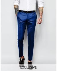 Noose And Monkey - Blue Tuxedo Suit Trousers With Stretch And Jacquard In Super Skinny Fit for Men - Lyst