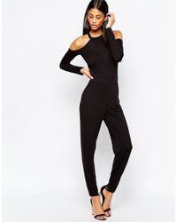 ASOS | Black Jersey Jumpsuit With Cold Shoulder | Lyst