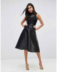 AX Paris Prom Dress With Lace Upper in Black - Lyst 401af7a15