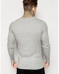 ASOS - Gray Muscle Longline Long Sleeve T-shirt With Cut & Sew Panels for Men - Lyst