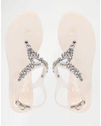 Lipsy - Metallic Gloss Nude Embellished Jelly Flip Flops - Lyst
