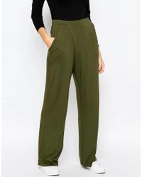 ASOS - Green Jersey Wide Leg Trousers With Wrap Front - Lyst
