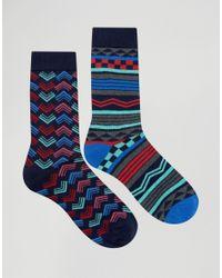 Urban Eccentric - Blue Geo Stripe Socks In 2 Pack - Multi - Lyst