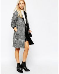 Oasis - Gray Asis Check Coat - Lyst