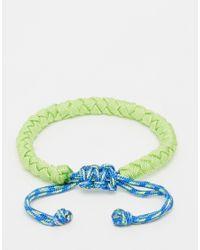 Jack & Jones - Green Leather Neon Bracelet for Men - Lyst