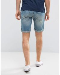 Blend - Ripped Denim Short Mid Blue for Men - Lyst