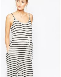 ASOS - Black Maternity Lounge Jumpsuit In Stripe - Lyst