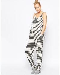 ASOS | Black Maternity Lounge Jumpsuit In Stripe | Lyst