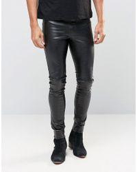 ASOS   Black Meggings In Faux Leather for Men   Lyst