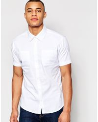 D-Struct - Short Sleeve Twill Shirt - White for Men - Lyst
