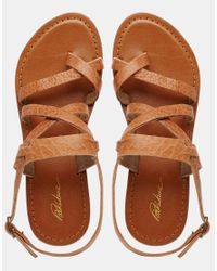 Park Lane - Brown Simple Strappy Leather Flat Sandals - Lyst