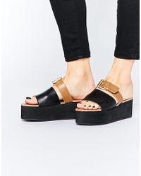 Park Lane Brown Slide Buckle Leather Flatform Sandals