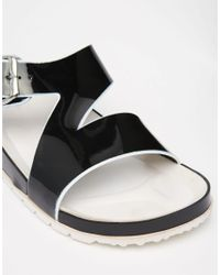 London Rebel - Black Footbed Slide Flat Sandals - Lyst