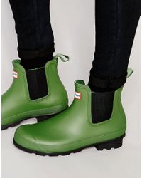 Hunter - Green Original Chelsea Gumboots for Men - Lyst