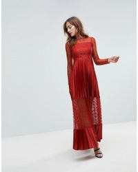 ASOS - Red Asos Satin Panelled Lace Pleated Maxi Dress - Lyst
