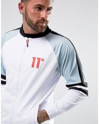 11 Degrees - Track Jacket In White With Blue Panels for Men - Lyst