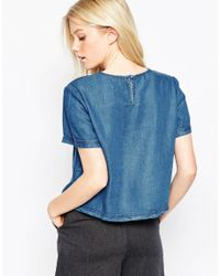 Native Youth - Blue Denim Tencel Boxy Top - Lyst
