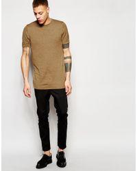 ASOS - Multicolor Longline Knitted T-shirt In Mustard Twist for Men - Lyst
