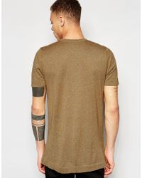 ASOS - Multicolor Longline Knitted T-shirt In Mustard Twist for Men - Lyst