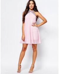 Lipsy - Pink Embellished High Neck Babydoll Swing Dress - Lyst