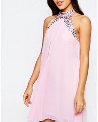 Lipsy - Pink Embellished High Neck Babydoll Swing Dress - Lyst