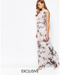 True Violet - White Print Maxi Dress With Open Back Detail - Lyst