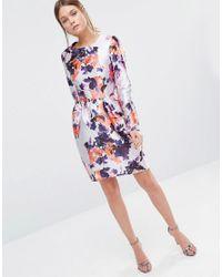 True Violet - Multicolor Satin Dress With Tulip Skirt - Lyst