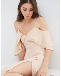 ASOS - Pink Cold Shoulder Button Ruffle Maxi Dress - Lyst