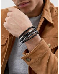 ASOS - Black Monochrome Bracelet Pack With Beads for Men - Lyst