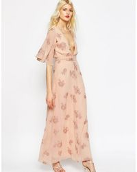 ASOS | Pink Flutter Sleeve Maxi Dress With Pretty Florals | Lyst