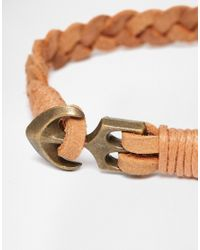 ASOS | Brown Leather Bracelet In Tan With Anchor Fastening | Lyst