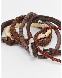 ASOS - Leather Bracelet Pack In Brown for Men - Lyst