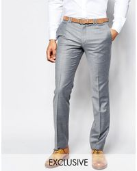 Noak   Gray Summer Flannel Wedding Suit Pants In Super Skinny Fit for Men   Lyst