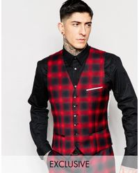 Heart & Dagger - Blue Ombre Check Waistcoat In Super Skinny Fit - Red for Men - Lyst