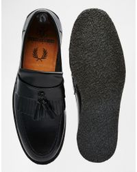 Fred Perry   Black X George Cox Leather Tassel Loafers for Men   Lyst