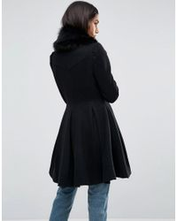 ASOS DESIGN - Black Asos Swing Coat With Faux Fur Collar - Lyst