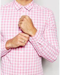 ASOS - Skinny Shirt In Pink Gingham Check for Men - Lyst