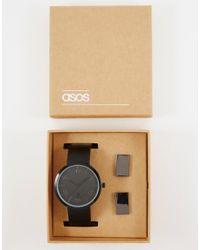 ASOS - Metallic Watch And Cufflink Set In Black for Men - Lyst