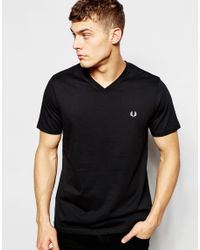 Fred Perry - T-shirt With V Neck In Black for Men - Lyst