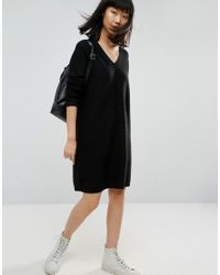 ASOS - Black Knitted Dress In Oversize And Ripple - Lyst