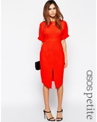 ASOS | Orange Wiggle Dress With Split Front | Lyst