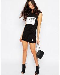 Nicce London - Black Cut Off Sleeve Tank Vest With Box Logo - Lyst
