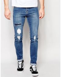 Dr. Denim - Snap Skinny Jeans Ripped Mid Wash Blue for Men - Lyst