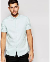 ASOS | Blue Denim Shirt In Bleach Wash With Short Sleeves In Regular Fit for Men | Lyst