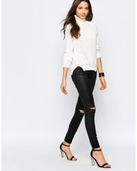 Noisy May Tall - White Cable Knit Rollneck - Lyst